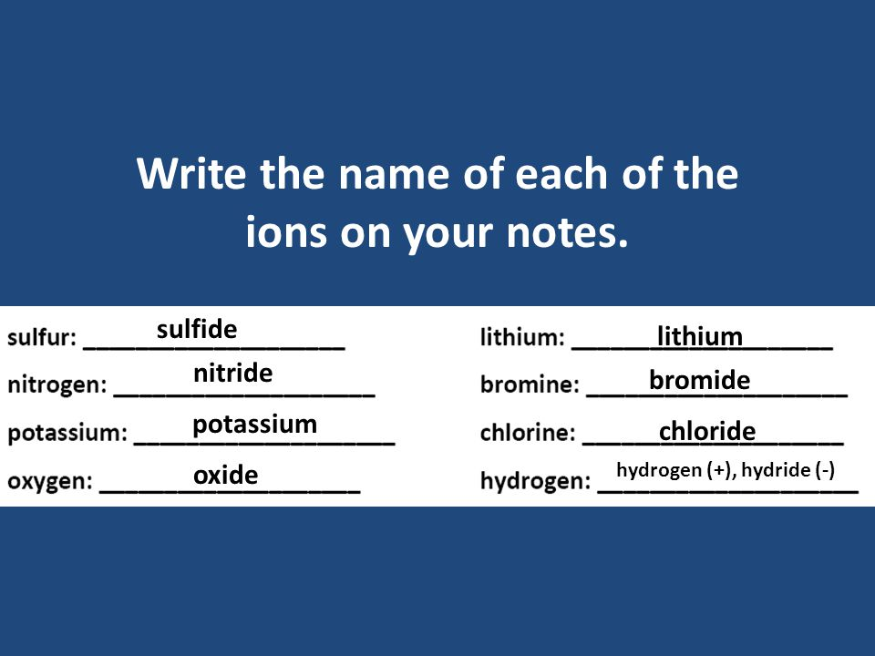 There are also ions that form after elements have shared electrons.