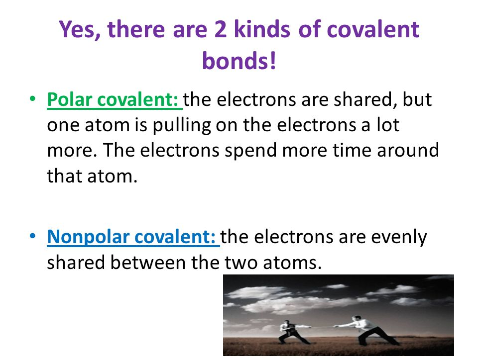 Yes, there are 2 kinds of covalent bonds! Polar covalent: the electrons are shared, but one atom is pulling on the electrons a lot more. The electrons