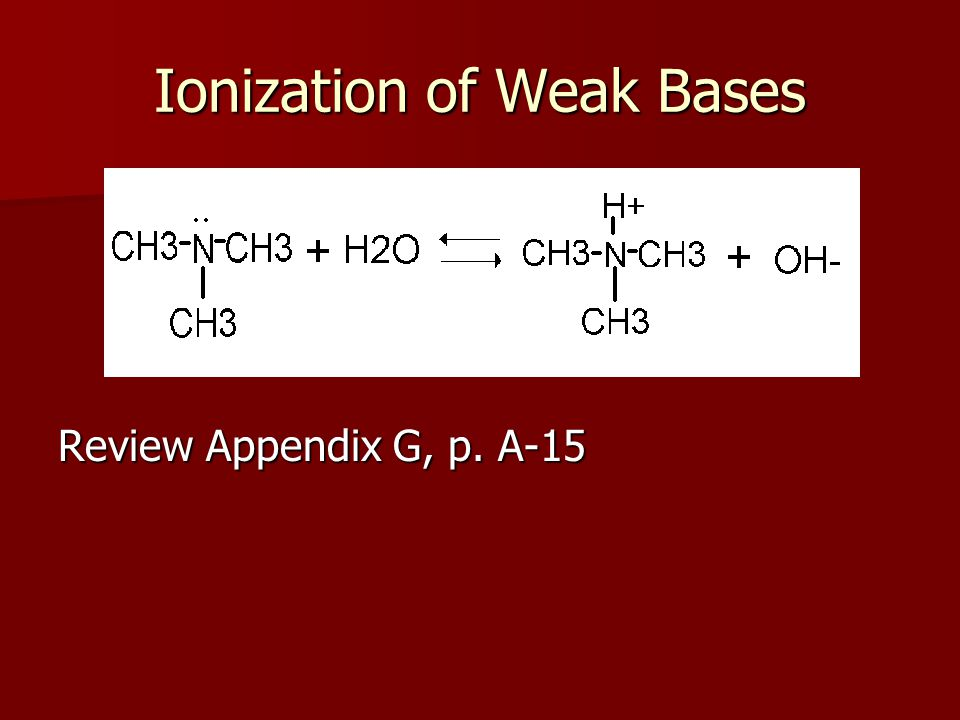 Ionization of Weak Bases Review Appendix G, p. A-15