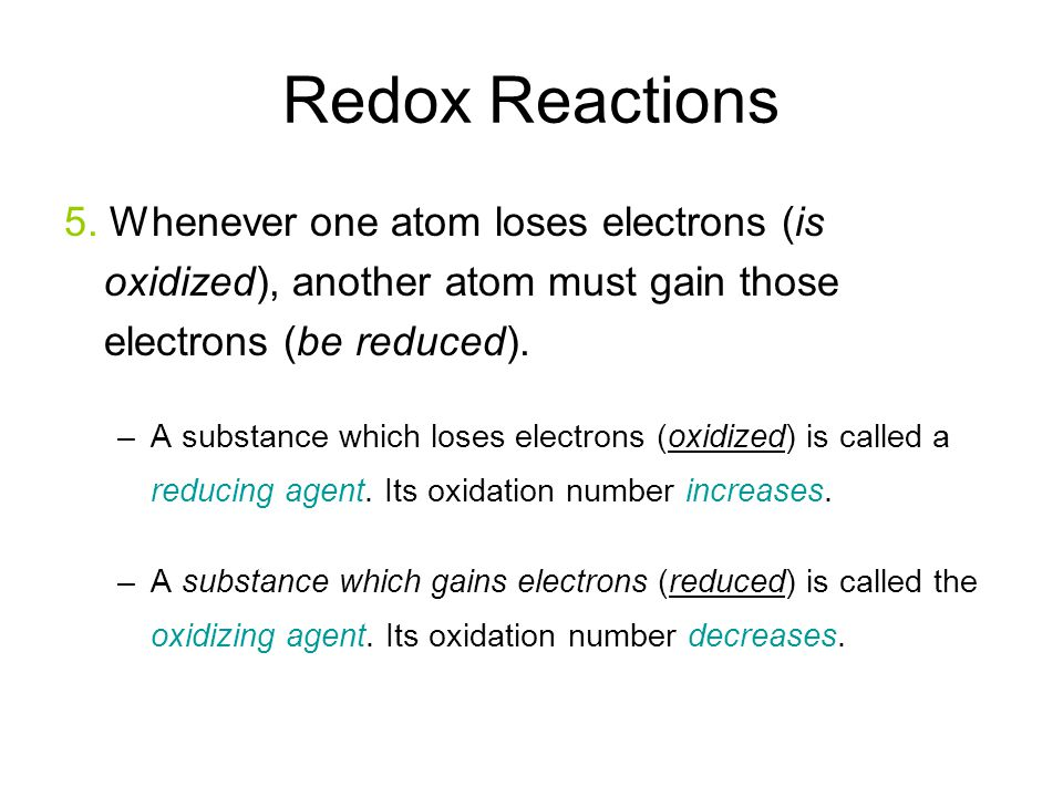 Redox Reactions 5.