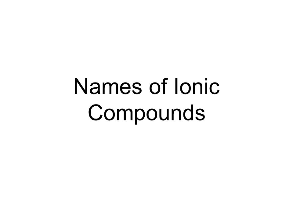 Homework Names of Ionic Compounds