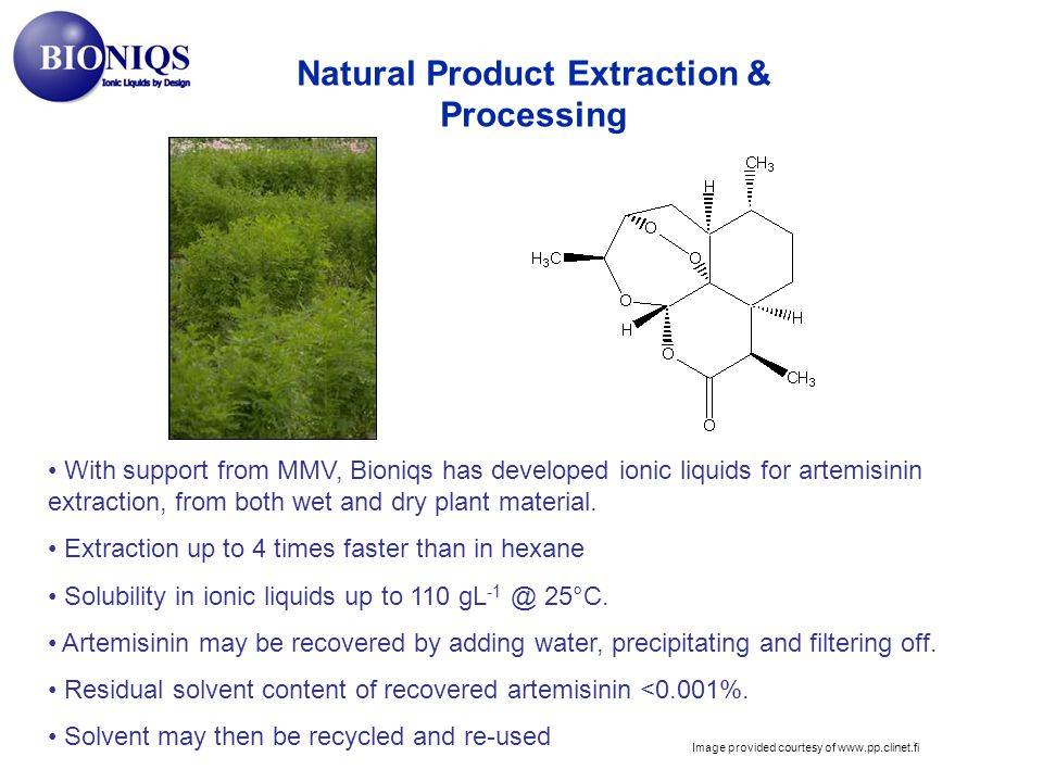 Natural Product Extraction & Processing With support from MMV, Bioniqs has developed ionic liquids for artemisinin extraction, from both wet and dry plant material.
