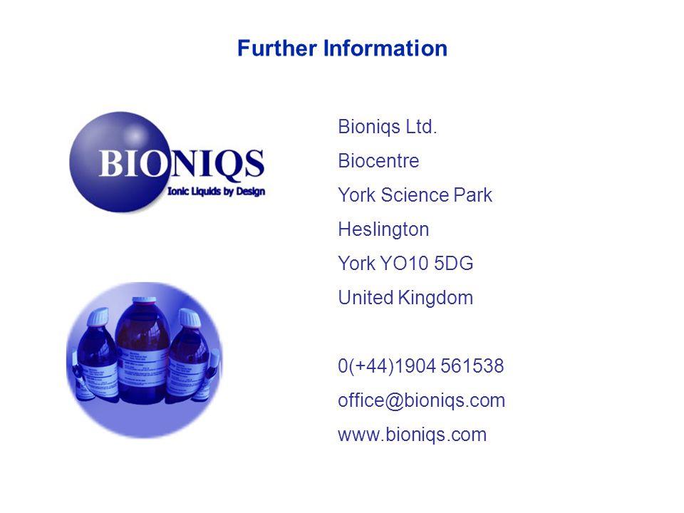 Further Information Bioniqs Ltd. Biocentre York Science Park Heslington York YO10 5DG United Kingdom 0(+44)1904 561538 office@bioniqs.com www.bioniqs.