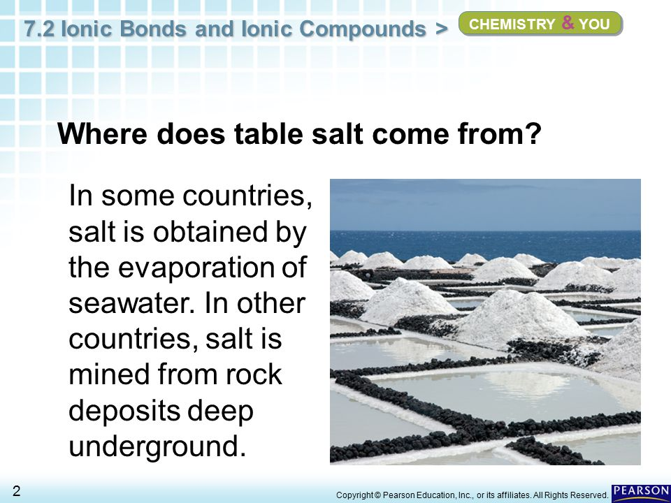 7.2 Ionic Bonds and Ionic Compounds > 3 Copyright © Pearson Education, Inc., or its affiliates.