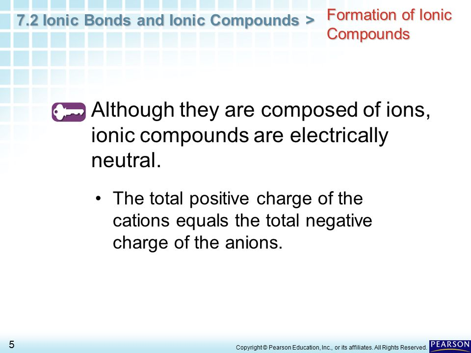 7.2 Ionic Bonds and Ionic Compounds > 16 Copyright © Pearson Education, Inc., or its affiliates.