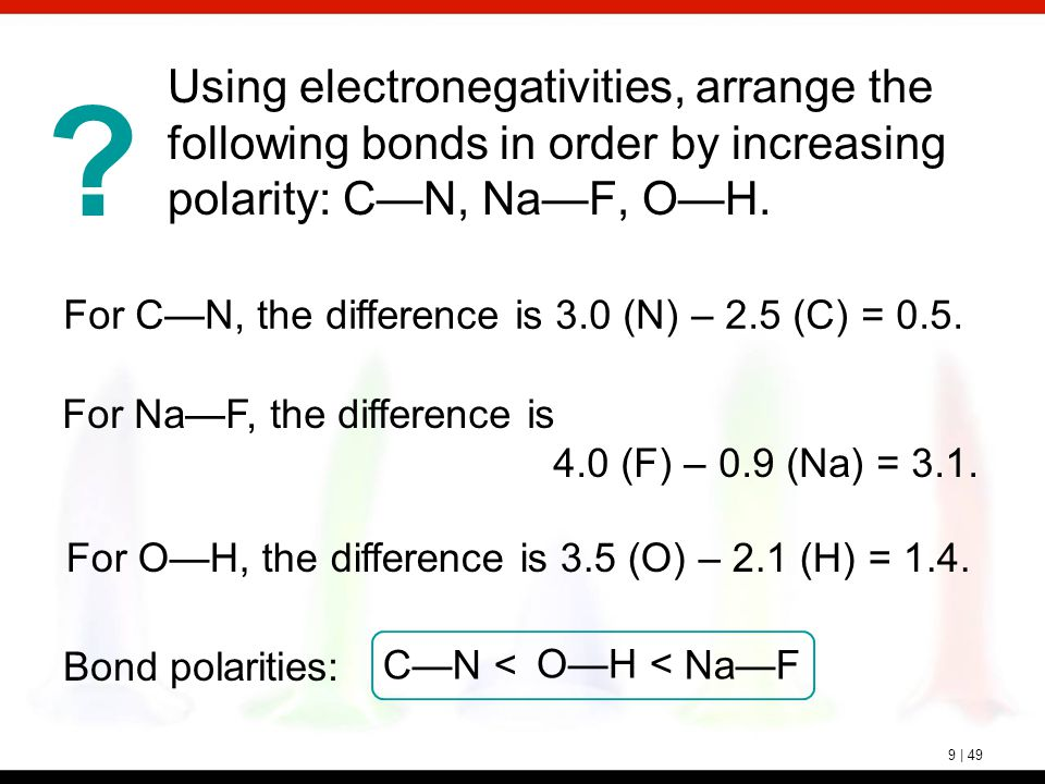 ? 9 | 49 Using electronegativities, arrange the following bonds in order by increasing polarity: C—N, Na—F, O—H. For Na—F, the difference is 4.0 (F) –
