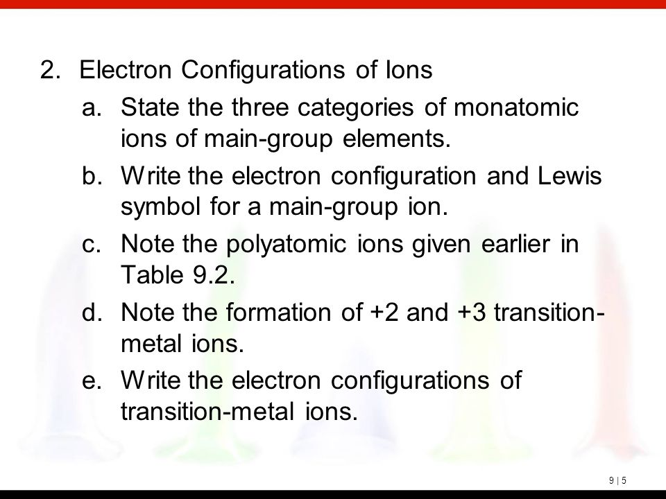 9 | 5 2.Electron Configurations of Ions a.State the three categories of monatomic ions of main-group elements. b.Write the electron configuration and