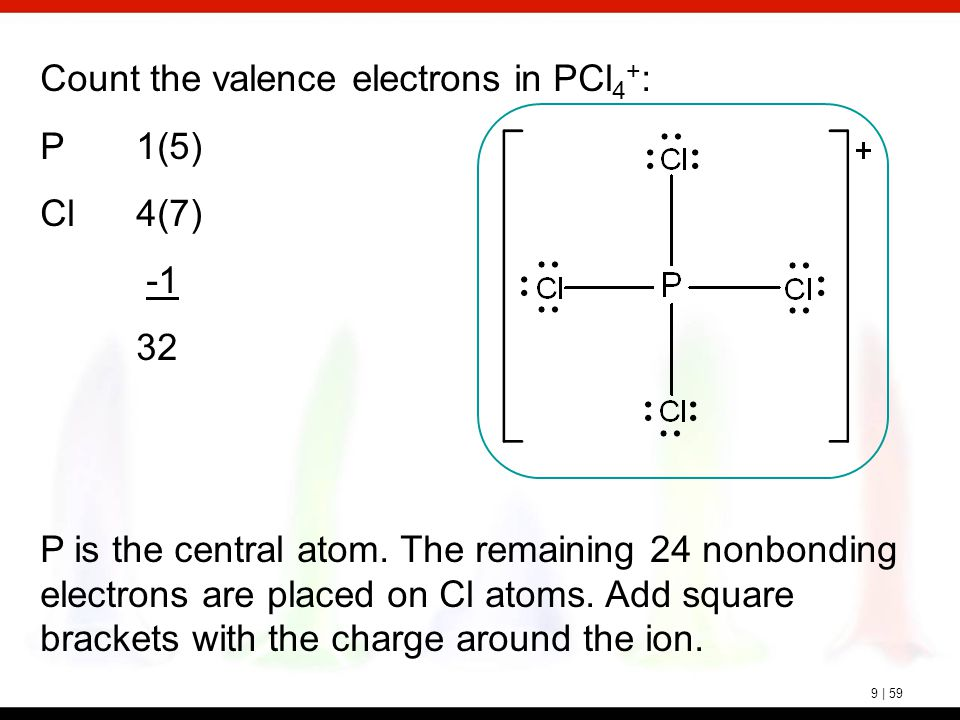 9 | 59 Count the valence electrons in PCl 4 + : P1(5) Cl4(7) 32 P is the central atom. The remaining 24 nonbonding electrons are placed on Cl atoms. A