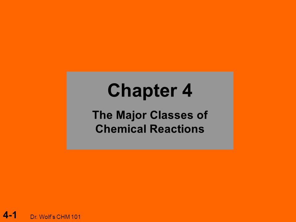 4-1 Dr. Wolf's CHM 101 Chapter 4 The Major Classes of Chemical Reactions