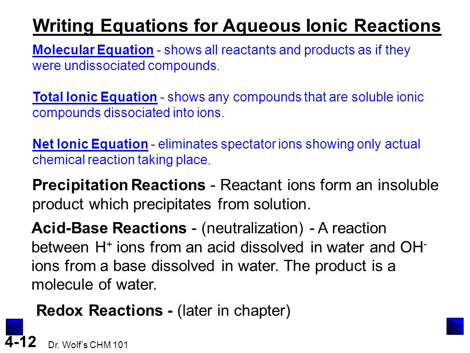 4-12 Dr. Wolf's CHM 101 Writing Equations for Aqueous Ionic Reactions Molecular Equation - shows all reactants and products as if they were undissocia