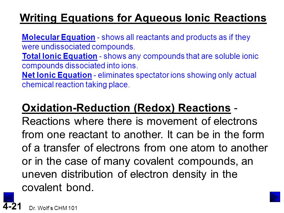 4-21 Dr. Wolf's CHM 101 Writing Equations for Aqueous Ionic Reactions Molecular Equation - shows all reactants and products as if they were undissocia