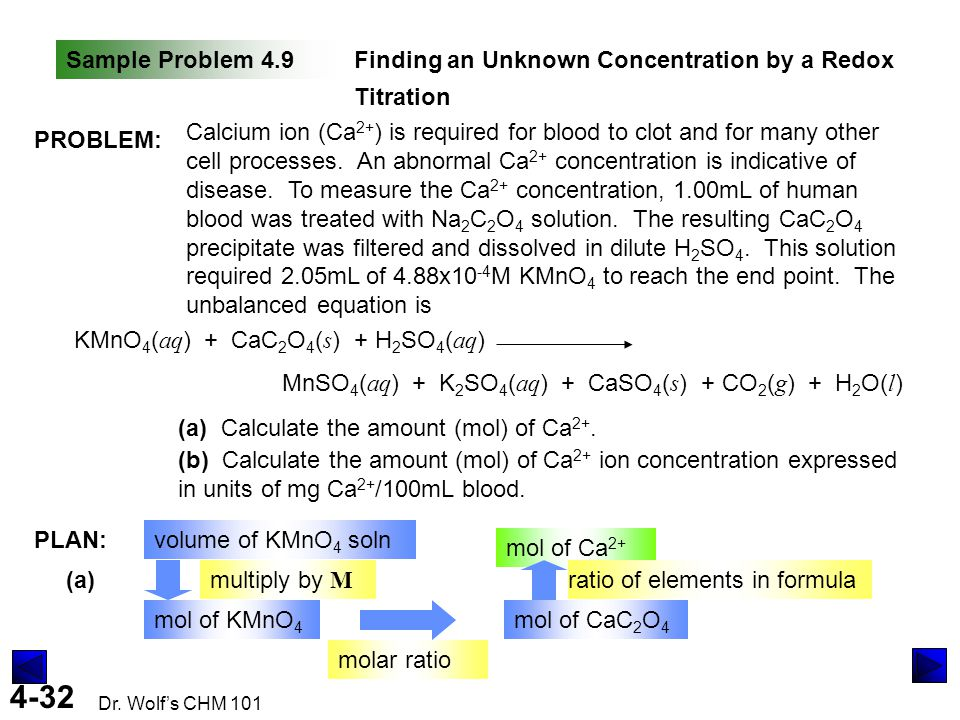 4-32 Dr. Wolf's CHM 101 Sample Problem 4.9Finding an Unknown Concentration by a Redox Titration PROBLEM: Calcium ion (Ca 2+ ) is required for blood to