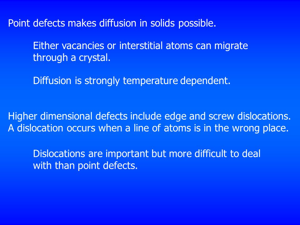 Point defects makes diffusion in solids possible.