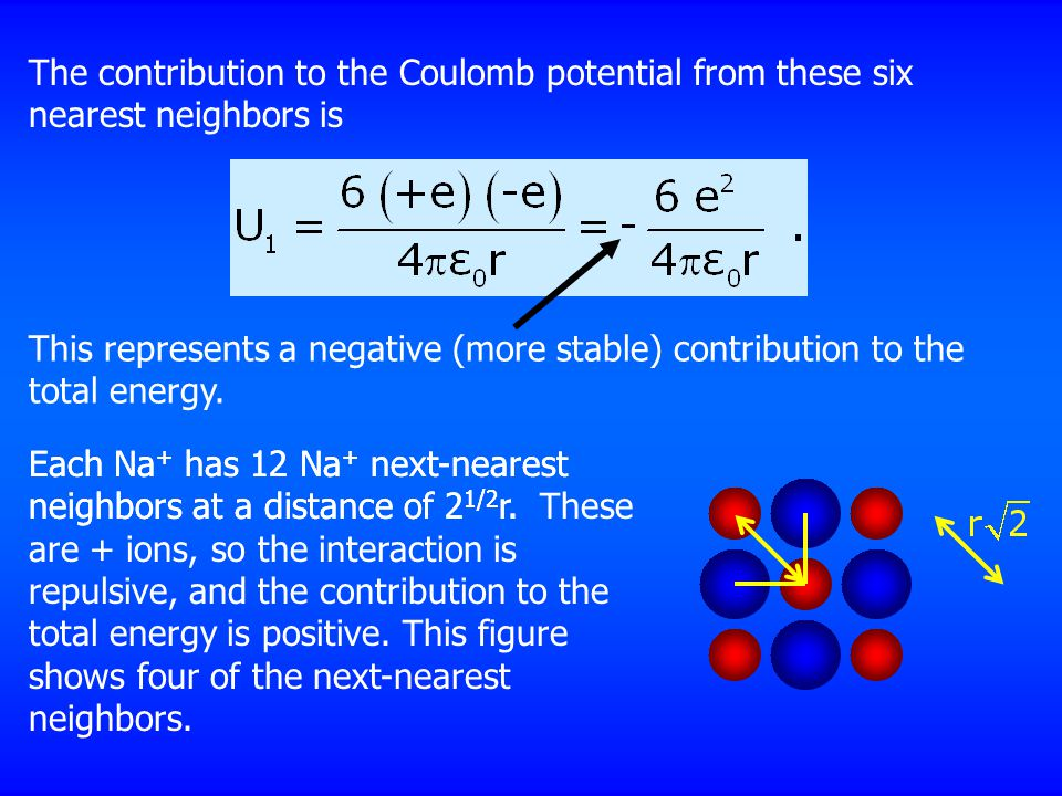 The contribution to the Coulomb potential from these six nearest neighbors is This represents a negative (more stable) contribution to the total energy.