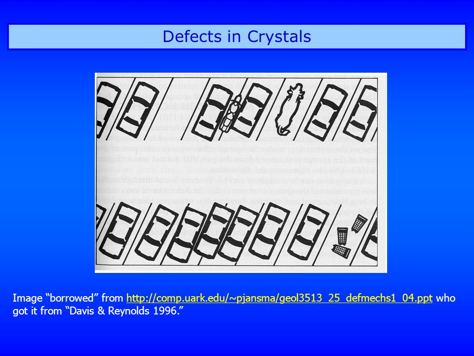 Defects in Crystals Image borrowed from http://comp.uark.edu/~pjansma/geol3513_25_defmechs1_04.ppt who got it from Davis & Reynolds 1996. http://comp.uark.edu/~pjansma/geol3513_25_defmechs1_04.ppt