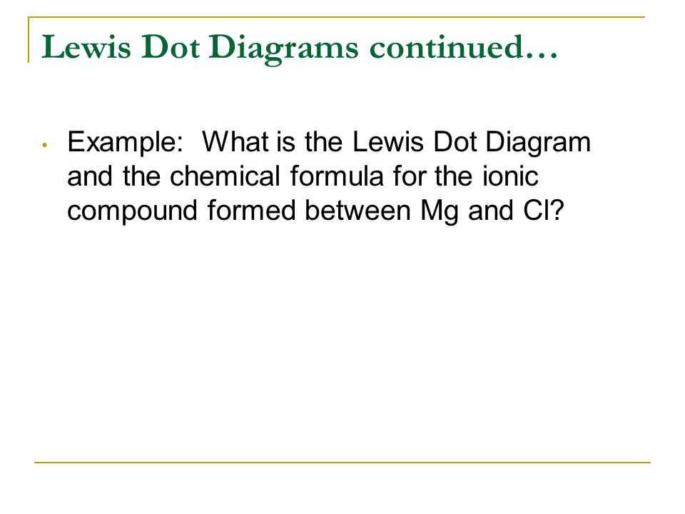 Lewis Dot Diagrams continued… Example: What is the Lewis Dot Diagram and the chemical formula for the ionic compound formed between Mg and Cl