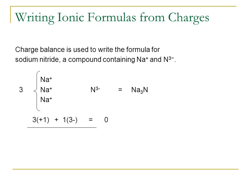Writing Ionic Formulas from Charges Charge balance is used to write the formula for sodium nitride, a compound containing Na + and N 3−.