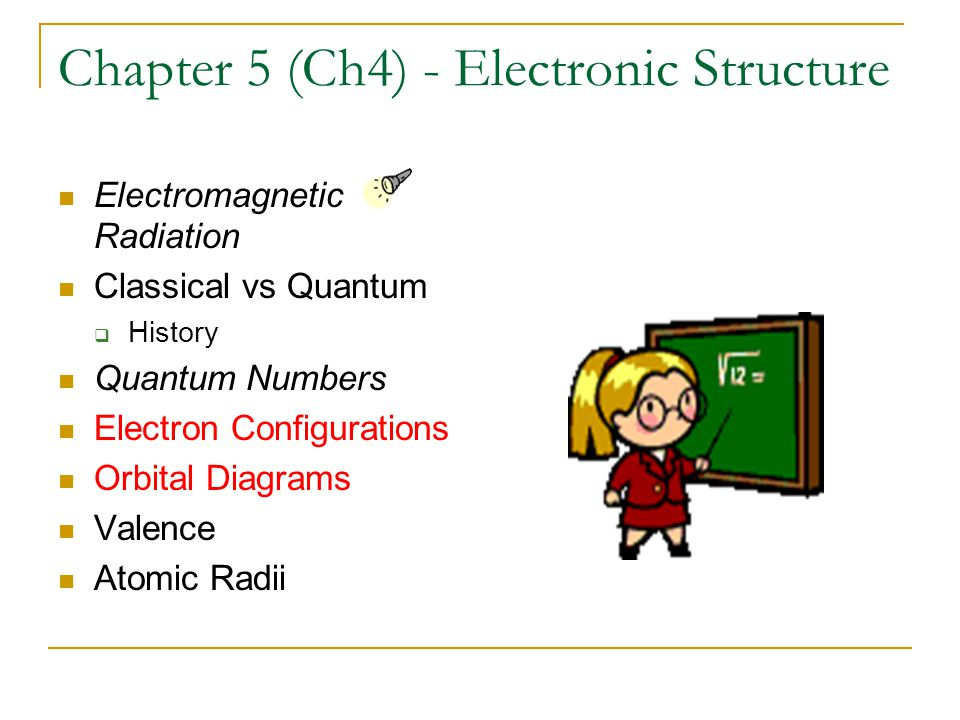 Chapter 5 (Ch4) - Electronic Structure Electromagnetic Radiation Classical vs Quantum  History Quantum Numbers Electron Configurations Orbital Diagrams Valence Atomic Radii