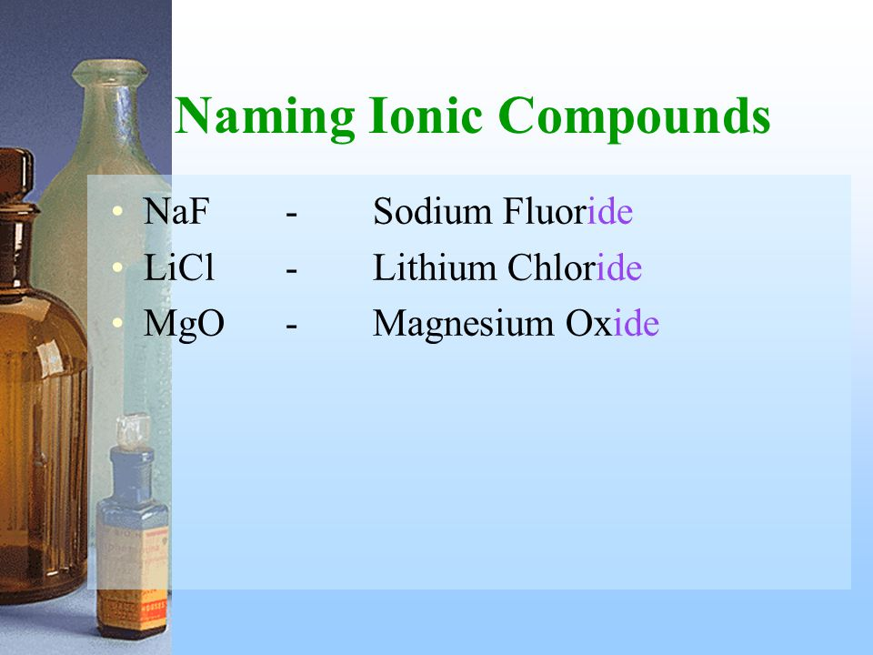 Naming Ionic Compounds NaF-Sodium Fluoride LiCl-Lithium Chloride MgO-Magnesium Oxide