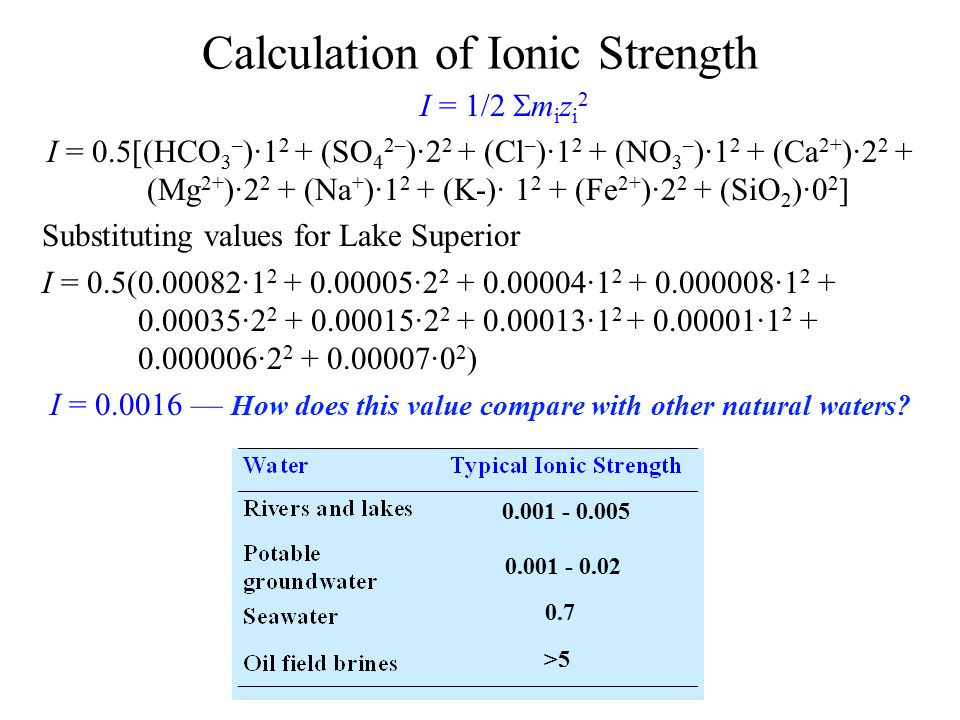 Calculation of Ionic Strength I = 1/2  m i z i 2 I = 0.5[(HCO 3 – )·1 2 + (SO 4 2– )·2 2 + (Cl – )·1 2 + (NO 3 – )·1 2 + (Ca 2+ )·2 2 + (Mg 2+ )·2 2 + (Na + )·1 2 + (K-)· 1 2 + (Fe 2+ )·2 2 + (SiO 2 )·0 2 ] Substituting values for Lake Superior I = 0.5(0.00082·1 2 + 0.00005·2 2 + 0.00004·1 2 + 0.000008·1 2 + 0.00035·2 2 + 0.00015·2 2 + 0.00013·1 2 + 0.00001·1 2 + 0.000006·2 2 + 0.00007·0 2 ) I = 0.0016 — How does this value compare with other natural waters.