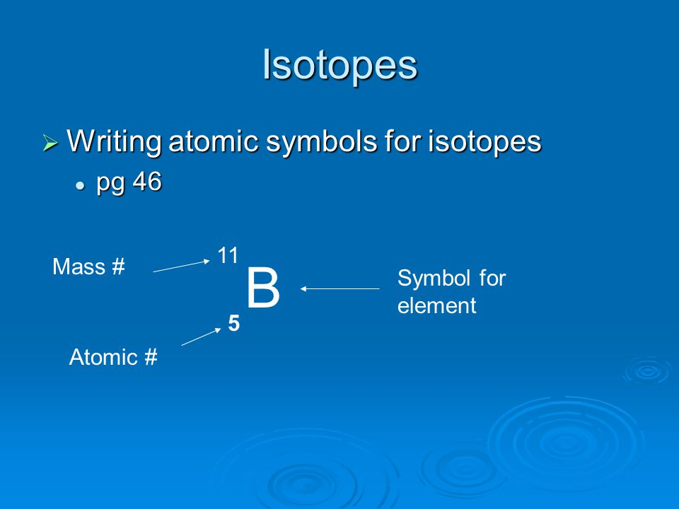 Isotopes  Writing atomic symbols for isotopes pg 46 pg 46 B 5 11 Atomic # Mass # Symbol for element