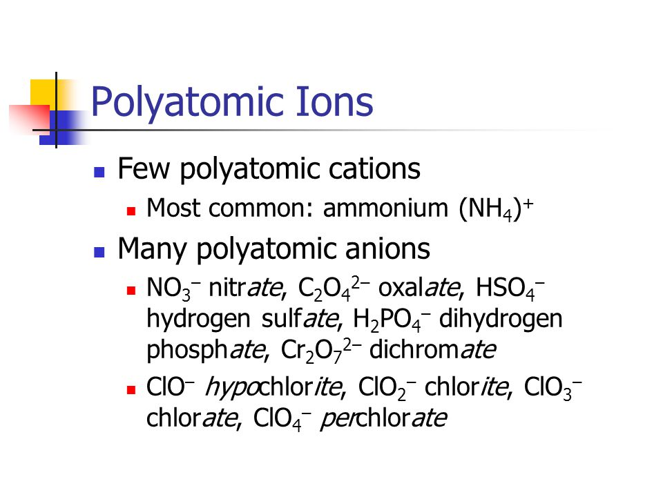 Naming Compounds IONIC Cation named first.