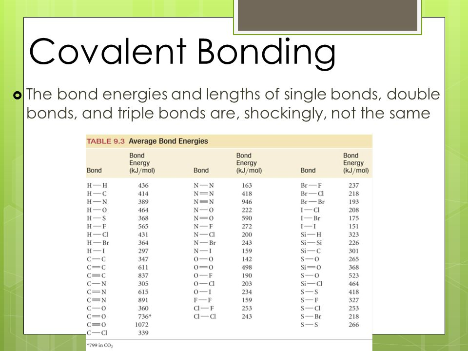 Covalent Bonding  The bond energies and lengths of single bonds, double bonds, and triple bonds are, shockingly, not the same