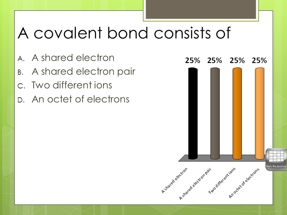 A covalent bond consists of A. A shared electron B.