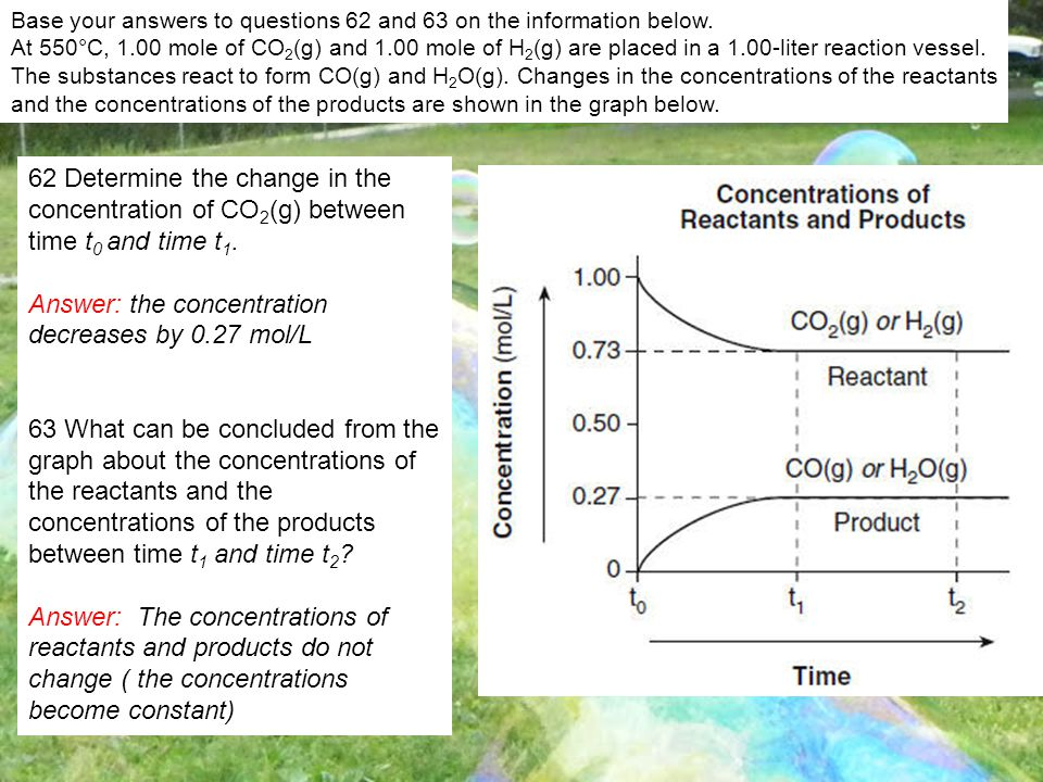 Base your answers to questions 62 and 63 on the information below. At 550°C, 1.00 mole of CO 2 (g) and 1.00 mole of H 2 (g) are placed in a 1.00-liter