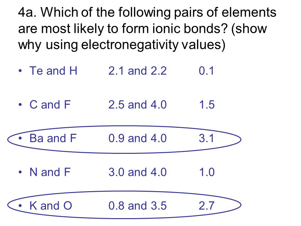 4a. Which of the following pairs of elements are most likely to form ionic bonds? (show why using electronegativity values) Te and H2.1 and 2.20.1 C a