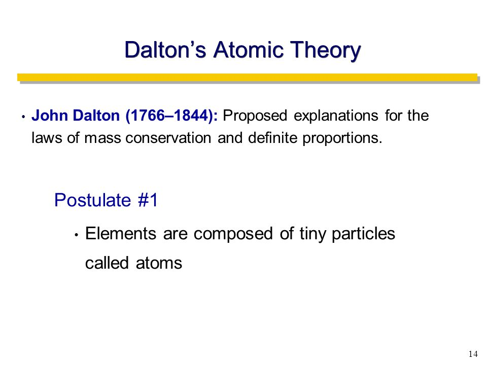 14 Dalton's Atomic Theory John Dalton (1766–1844): Proposed explanations for the laws of mass conservation and definite proportions.