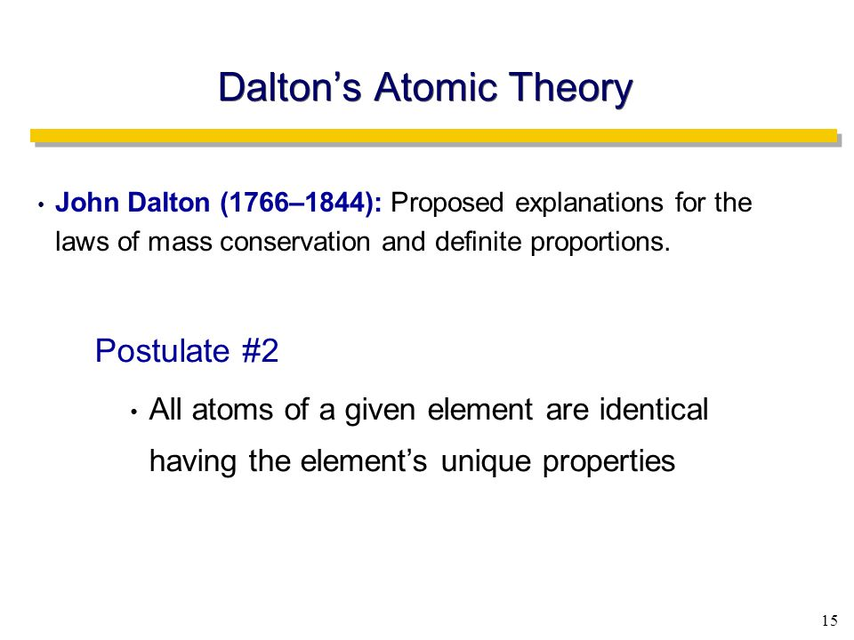 15 Dalton's Atomic Theory John Dalton (1766–1844): Proposed explanations for the laws of mass conservation and definite proportions.
