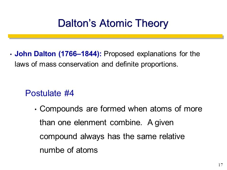 17 Dalton's Atomic Theory John Dalton (1766–1844): Proposed explanations for the laws of mass conservation and definite proportions.