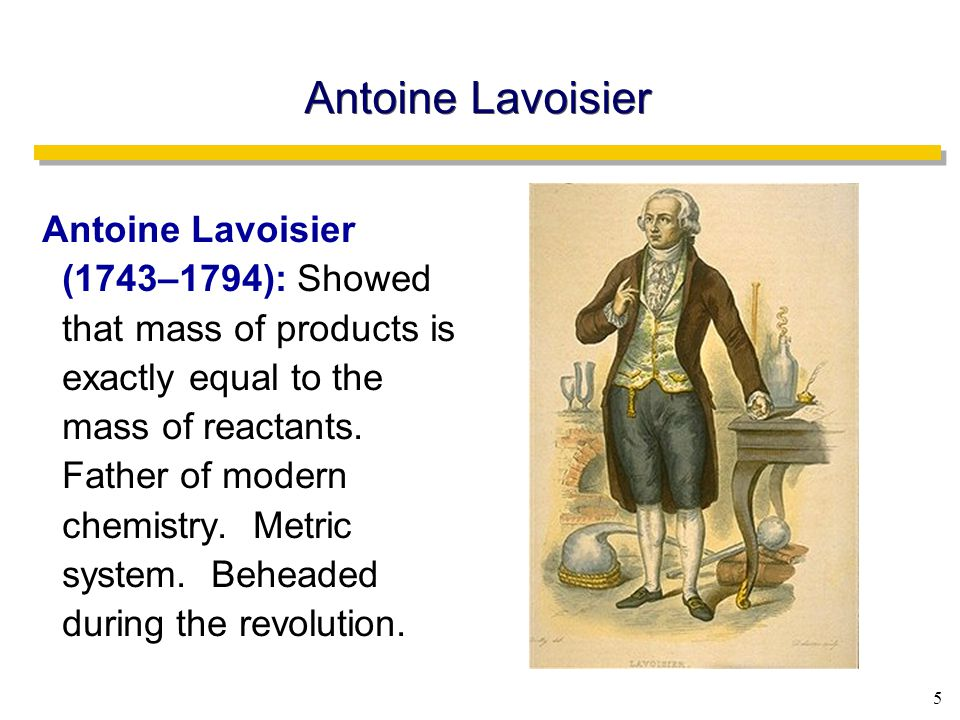 5 Antoine Lavoisier Antoine Lavoisier (1743–1794): Showed that mass of products is exactly equal to the mass of reactants.