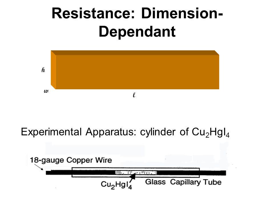 Resistance: Dimension- Dependant l w h Experimental Apparatus: cylinder of Cu 2 HgI 4