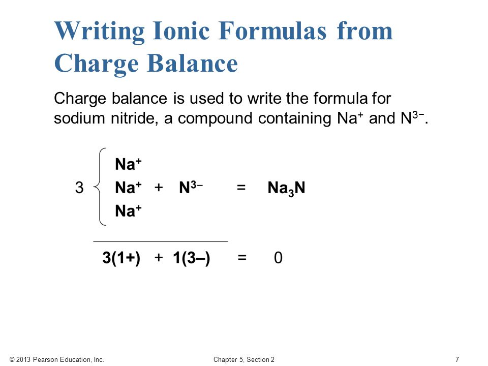 © 2013 Pearson Education, Inc. Chapter 5, Section 2 7 Writing Ionic Formulas from Charge Balance Charge balance is used to write the formula for sodiu