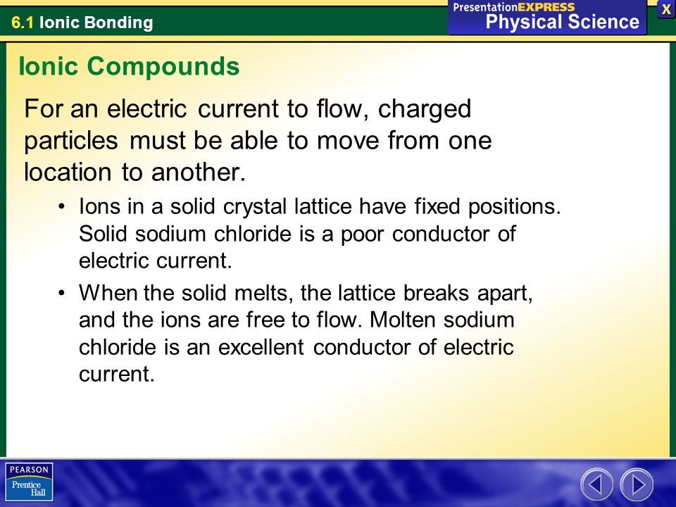 6.1 Ionic Bonding For an electric current to flow, charged particles must be able to move from one location to another. Ions in a solid crystal lattic