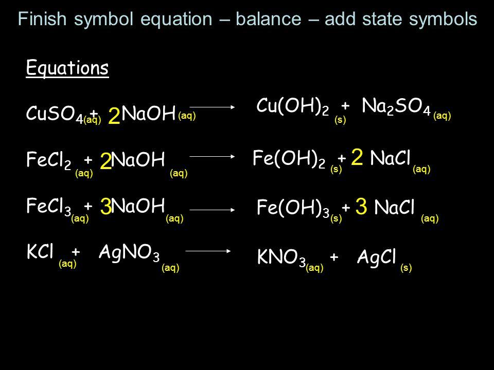 Equations CuSO 4 + NaOH FeCl 2 + NaOH FeCl 3 + NaOH KCl + AgNO 3 Cu(OH) 2 + Na 2 SO 4 2 Fe(OH) 2 + NaCl 2 2 Fe(OH) 3 + NaCl 33 KNO 3 + AgCl (aq) (s) (aq) (s)(aq) (s)(aq) (s) Finish symbol equation – balance – add state symbols