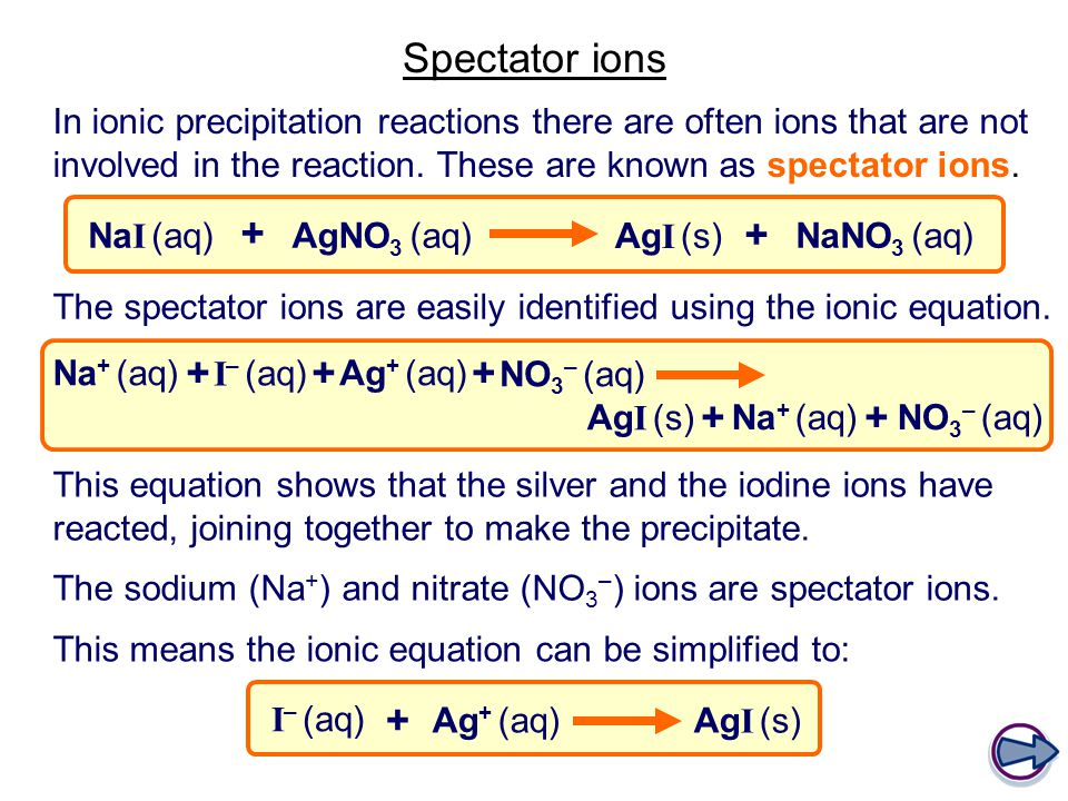 Spectator ions In ionic precipitation reactions there are often ions that are not involved in the reaction.