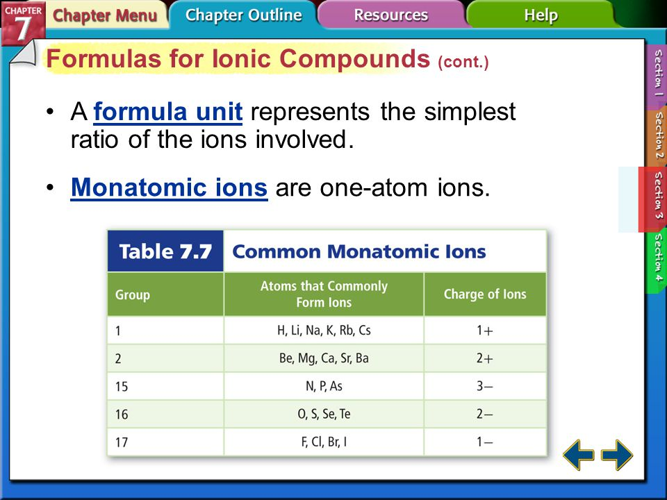 Section 7-3 Formulas for Ionic Compounds When writing names and formulas for ionic compounds, the cation appears first followed by the anion.