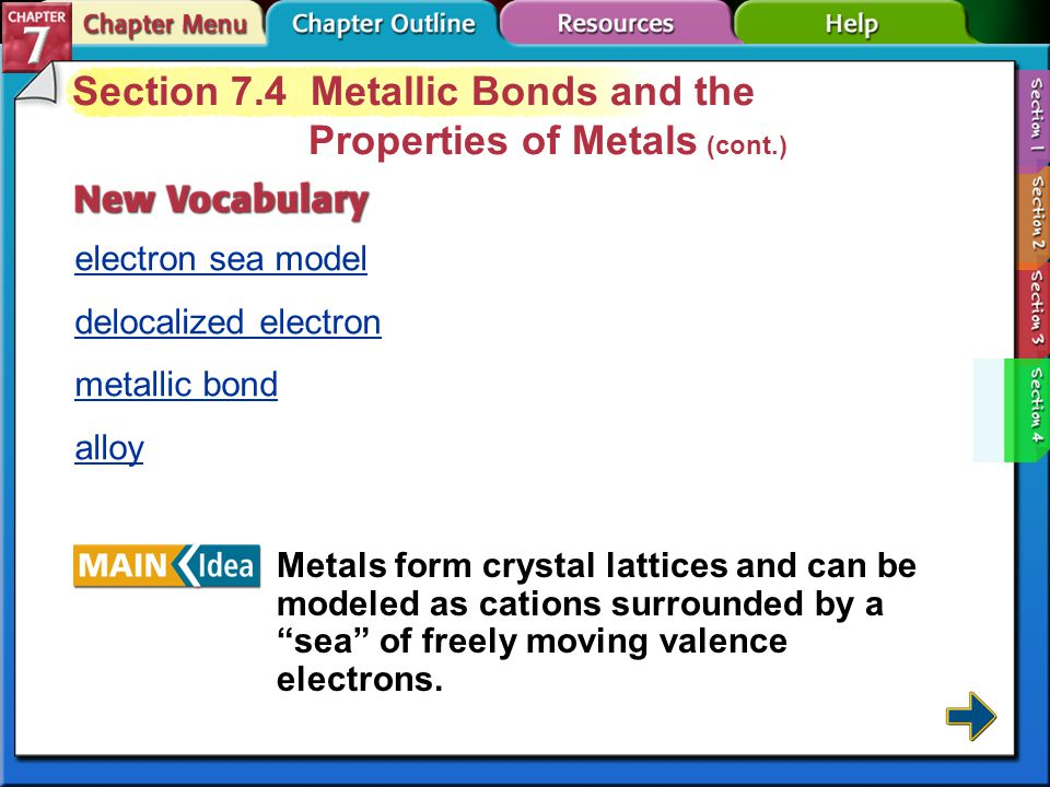 Section 7-4 Section 7.4 Metallic Bonds and the Properties of Metals Describe a metallic bond.