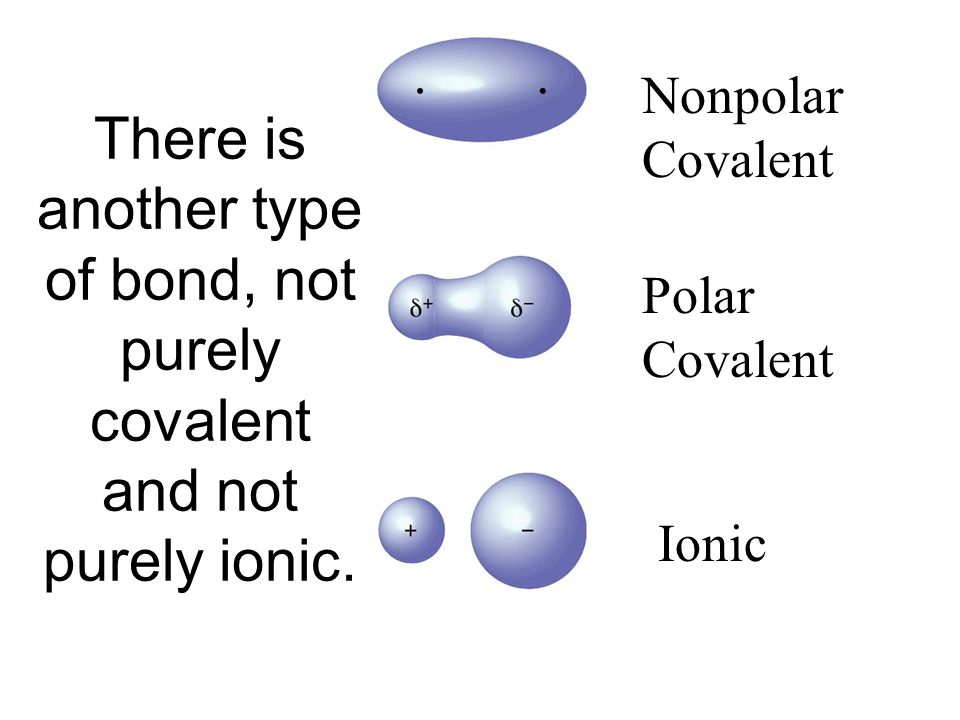 Pure Covalent Ionic There is another type of bond, not purely covalent and not purely ionic.