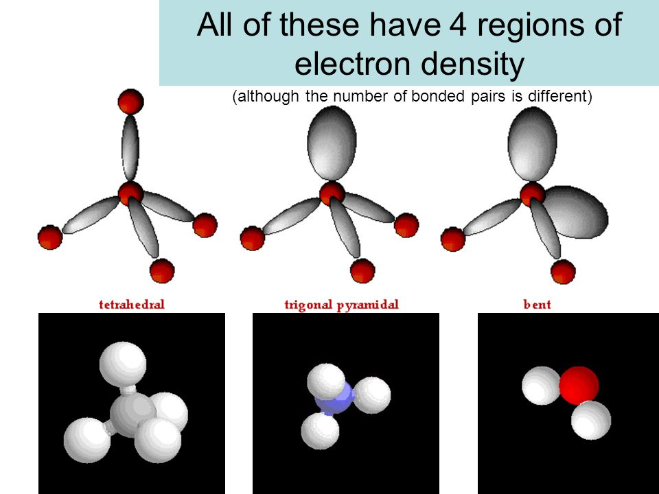 All of these have 4 regions of electron density (although the number of bonded pairs is different)