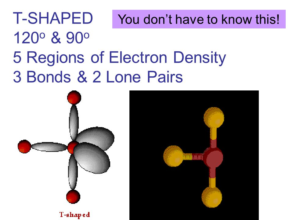 T-SHAPED 120 o & 90 o 5 Regions of Electron Density 3 Bonds & 2 Lone Pairs You don't have to know this!