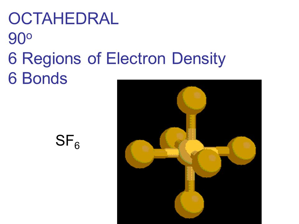 OCTAHEDRAL 90 o 6 Regions of Electron Density 6 Bonds SF 6