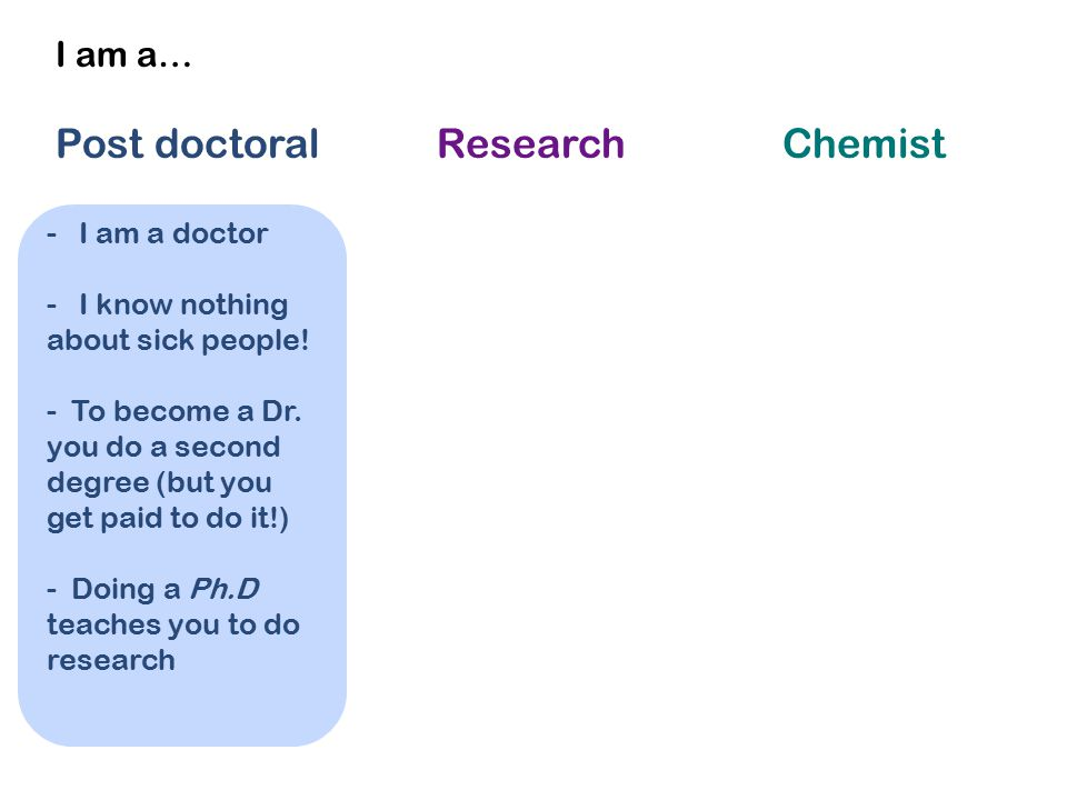 I am a… Post doctoral Research Chemist - I am a doctor - I know nothing about sick people! - To become a Dr. you do a second degree (but you get paid