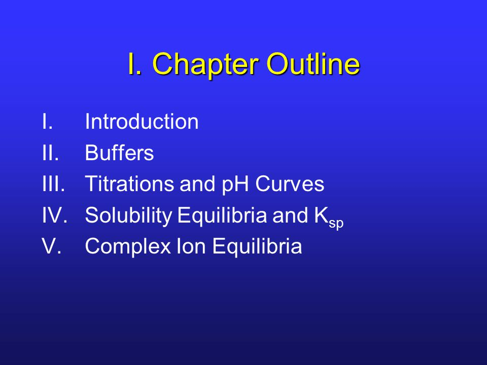 I. Chapter Outline I.Introduction II.Buffers III.Titrations and pH Curves IV.Solubility Equilibria and K sp V.Complex Ion Equilibria
