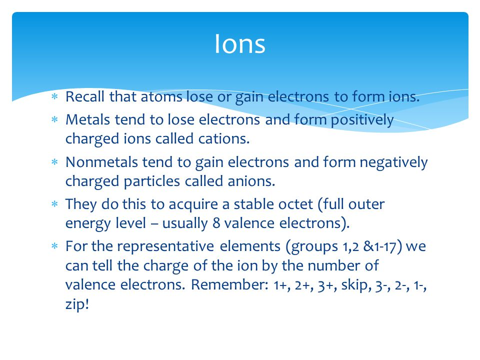  Recall that atoms lose or gain electrons to form ions.