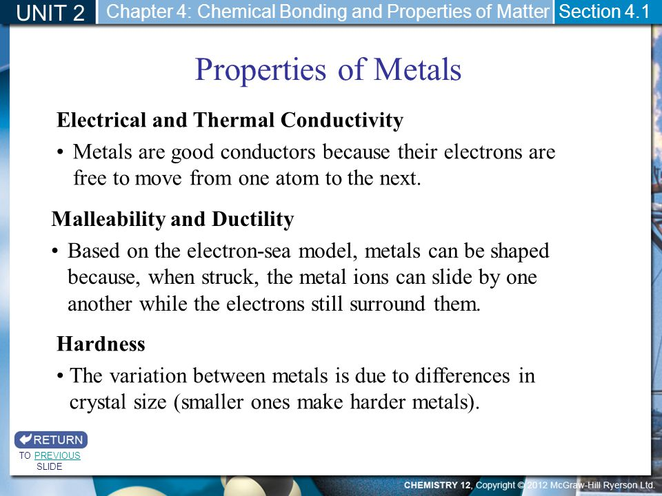 UNIT 2 Section 4.1 Properties of Metals TO PREVIOUS SLIDEPREVIOUS Chapter 4: Chemical Bonding and Properties of Matter Malleability and Ductility Base