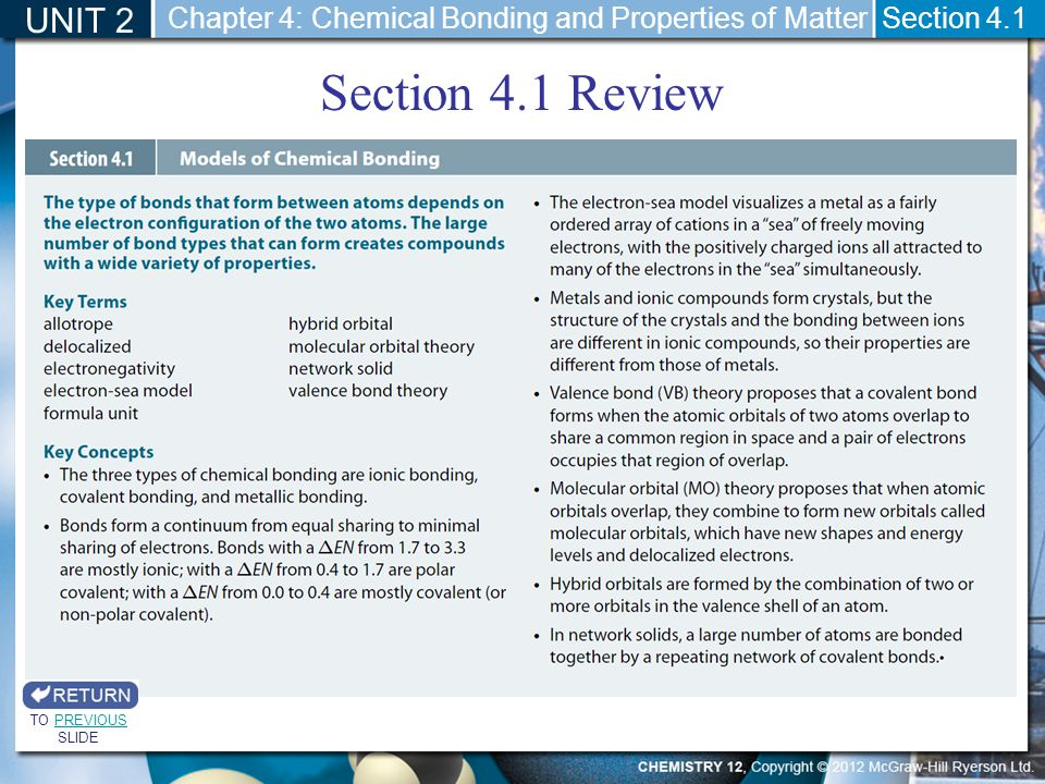 Section 4.1 Review UNIT 2 Section 4.1 TO PREVIOUS SLIDEPREVIOUS Chapter 4: Chemical Bonding and Properties of Matter
